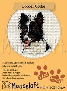 Mouseloft Border Collie Paw Prints cross stitch kit